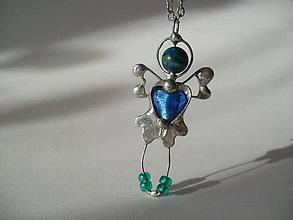 Náhrdelníky - Zeleno-modrý anjelik - azuromalachit, tiffany - 8981798_