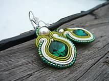 - Soutache náušnice Smaragdy Ivory&Green - 8982600_
