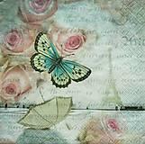 - S1082 - Servítky - motýľ, ruža, butterfly, roses, Paríž, dáždnik - 8981497_