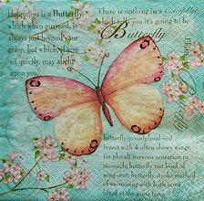 Papier - S1083 - Servítky - motýľ, kvet, halúzka, písmo, happiness, puk - 8981519_