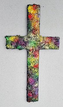 Obrazy - Viacfarebný kríž na stenu - 8980699_