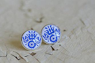Náušnice - NA SKLE MAĽOVANÉ /puzety (Modrá) - 8984010_