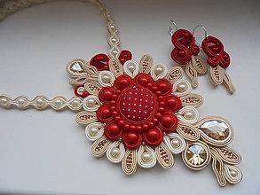 Sady šperkov - Soutache set Blanche - červenozlatý - 8981932_