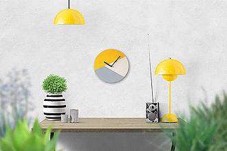 Hodiny - Nástenné hodiny Sivo-žlté - 8983875_