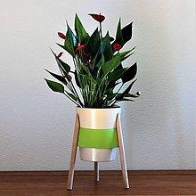 Nádoby - Stojan na kvety  (buk/zelená koža) - 8980484_