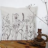 Úžitkový textil - Vankúš ručne maľovaný - zimné hnedé trávy - 8981327_