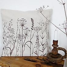 Úžitkový textil - Ľanový vankúš ručne maľovaný - zimné hnedé trávy - 8981327_