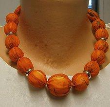 Šály - Hedvábné korálky v oranžové. - 8982333_