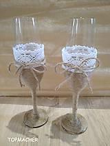 Jutové svadobné poháre