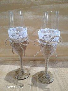 Nádoby - Jutové svadobné poháre - 8982189_