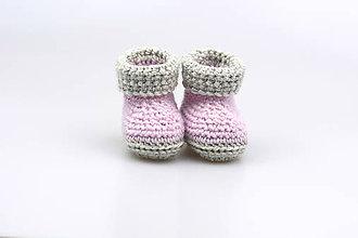 Topánočky - -50% Sivo-ružové papučky zimné FINE - 8982437_