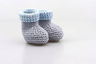 Topánočky - -50% Šedo-modré papučky zimné FINE - 8982660_