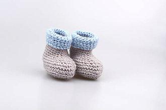 Topánočky - -50% Béžovo-modré papučky zimné FINE - 8982668_