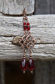 Náušnice - Červené kvapky s ornamentom - náušnice - 8983113_