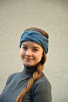 Ozdoby do vlasov - pletená čelenka-modrá - 8982918_