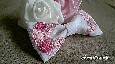 Odznaky/Brošne - Ruža ružová dámsky motýlik - 8982221_