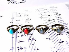 Prstene - Simple Mini Bronze Gemstone Ring / Jemný bronzový prsteň s minerálom #0413 - 8984727_