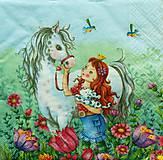 - S1089 - Servítky - kôň, koník, princezná, lúka, korunka, kvety, hriva - 8984478_