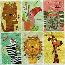 Papier - S1091 - Servítky - zebra, žirafa, lev, tiger, tukan, slon, zvieratká, pierko - 8985426_