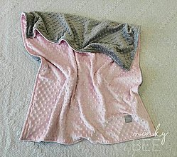 Textil - Obojstranné minky deky   (Blush/Silver) - 8987108_