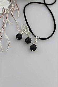 Sady šperkov - Láva a striebro náušnice , prívesok - 8987017_