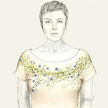 Tričká - Maľované tričko s kvetmi ľanu - Linum - 8987939_
