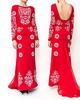 Šaty - Dlhé červené vyšívané šaty - 8984685_