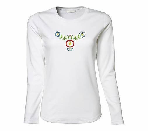 ab315efc3 Luxusné dámske tričko s dlhým rukávom, Závod / slovenskyfolklor ...