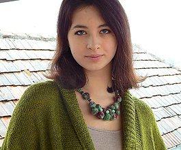 Náhrdelníky - Plstený náhrdelník zelená vlna s10 - 8987125_