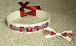 Opasky - vyšívaná súprava opasok-folk ivory + motýlik ivory - 8986144_
