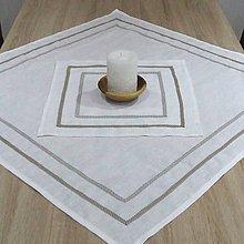 Úžitkový textil - Biely ľanový - obrus štvorec (76 cm x 76 cm) - 8984767_