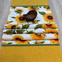 Úžitkový textil - Slnečnice na bielej - obrus obdĺžnik 120x38 - 8984936_