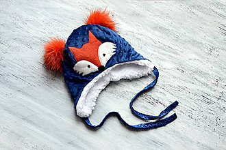 Detské čiapky - Minky čiapka Navy & Fox - 8986760_