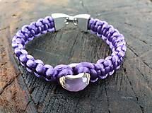 Náramky - Saténový pletený náramok s pandorkovou korálkou a mechanickým zapínaním - 8985960_