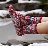 Obuv - Luxusné nórske merino ponožky Ľaliové - 8988425_