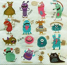 Papier - S1092 - Servítky - bacil, vírus, príšerky, potvorky, strašidlá - 8988465_