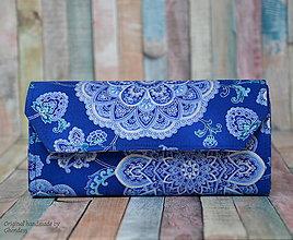Peňaženky - Peněženka - Modré mandaly/stříbrotisk - 8988616_