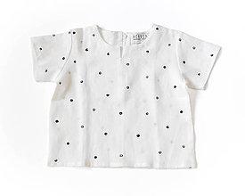 Detské oblečenie - Ľanová bodkovaná košieľka - 8991032_