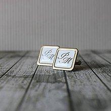 Šperky - Manžetové gombíky strieborné s Iniciálkami - 8991681_