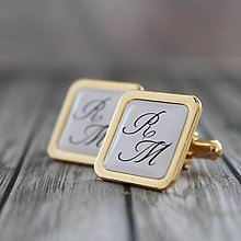Šperky - Manžetové gombíky zlaté s Iniciálkami - 8991693_
