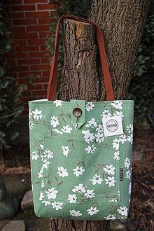 Nákupné tašky - Taška pro slečny, paní- Květy na zelené - 8989391_