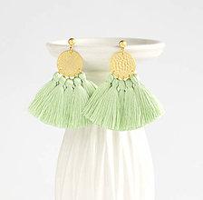 Náušnice - Zlaté náušnice so strapčekmi - svetlozelené, mosadz - 8990817_