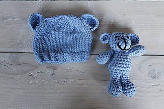 Detské súpravy - Modrá čiapočka s medvedíkom - 8988120_