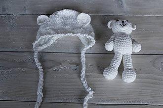 Detské súpravy - biela čiapočka a medvedík - 8988141_