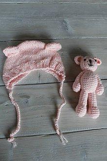 Detské súpravy - Ružová čiapočka a macko - 8988154_