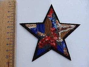 Galantéria - Nažehlovačka Hviezda viacfarebná s flitrami - 8990714_