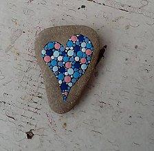 Dekorácie - Modré srdiečko - Na kameni maľované - 8990116_