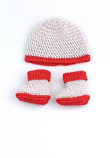 Detské súpravy - -50% Béžovo-červená súprava zimná FINE - 8989854_