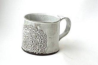 Nádoby - Čipkovaný pohár (Tmavá + Biela) - 8988200_