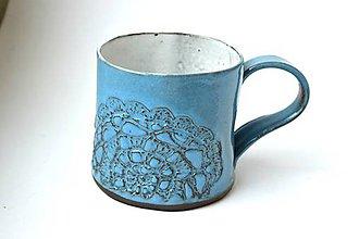Nádoby - Čipkovaný pohár (Tyrkysová s bielou) - 8988262_